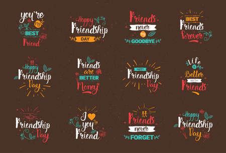 행복한 우정의 날 집합 인사말 카드 컬렉션 친구 휴일 배너 벡터 일러스트 레이션