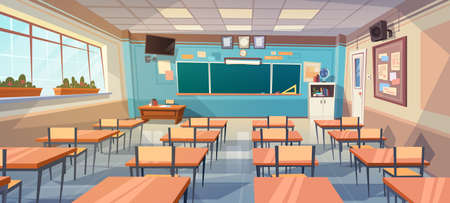 Empty School Class Room Interior Board Desk Flat Vector Illustration