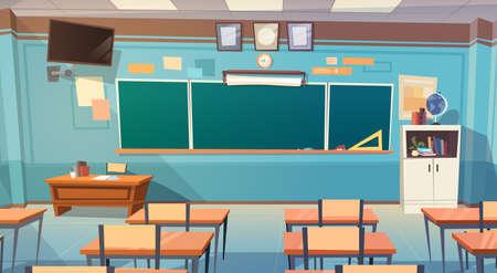 空の学校クラス ルーム内装ボード デスク フラット ベクトル図 写真素材 - 81923382