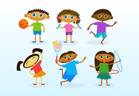 niños diferentes razas: Grupo de niños de raza mixta, niños sonrientes felices conjunto ilustración vectorial plana Vectores