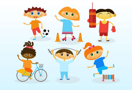 mixed race girl: Group Of Mix Race Kids, Happy Smiling Diverse Children Set Flat Vector Illustration