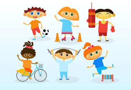 Group Of Mix Race Kids, Happy Smiling Diverse Children Set Flat Vector Illustration