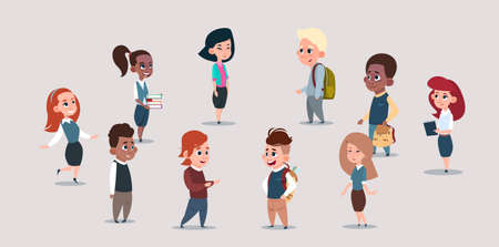 Group Of Mix Race School Kids, Happy Smiling Schoolchildren Diverse Flat Vector Illustration