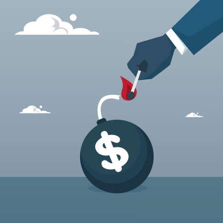 Business Man Hand Fire Money Bomb Credit Debt Finance Crisis Concept Flat Vector Illustration Illustration