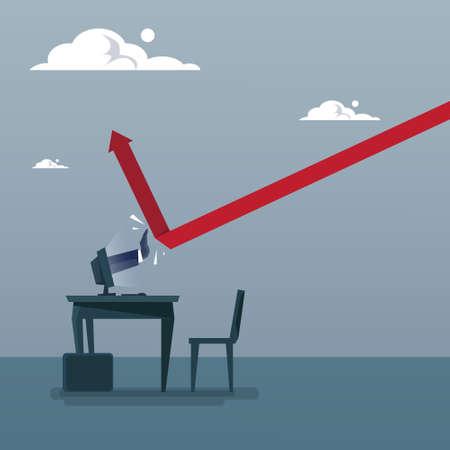 Business Man Hand Building Finance Graph With Arrow Up Analysis Financial Progress Success Concept Flat Vector Illustration