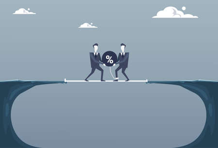 financial cliff: Two Business Man Throwing Percent Ball In Cliff Gap Credit Debt Finance Crisis Concept Flat Vector Illustration Illustration