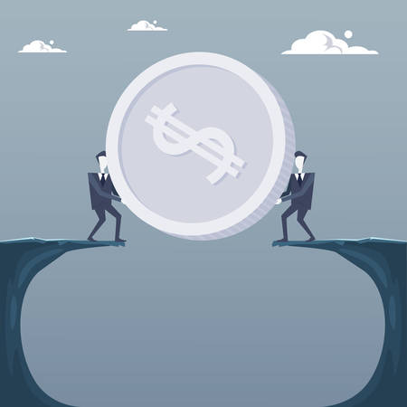 financial cliff: Business Men Giving Coin Over Cliff Gap Partners Teamwork Financial Cooperation Concept Flat Vector Illustration