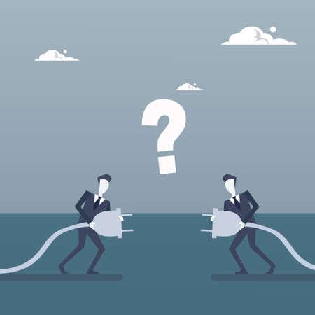 Business Men Holding Electrical Plug Teamwork Businesspeople Connection Concept Flat Vector Illustration