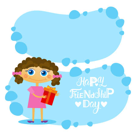 event party: Happy Friendship Day Greeting Card Friends Holiday Banner Flat Vector Illustration
