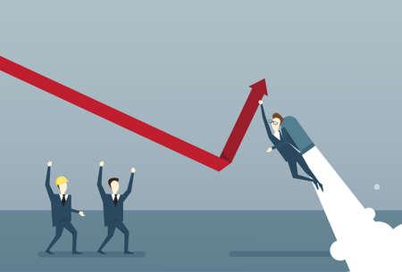 Bedrijfsmensengroep de Grafiek van de Bouwfinanciën met Pijl op Concept van het het Succesconcept van de Analyse de Financiële Vooruitgang Vlakke Vectorillustratie