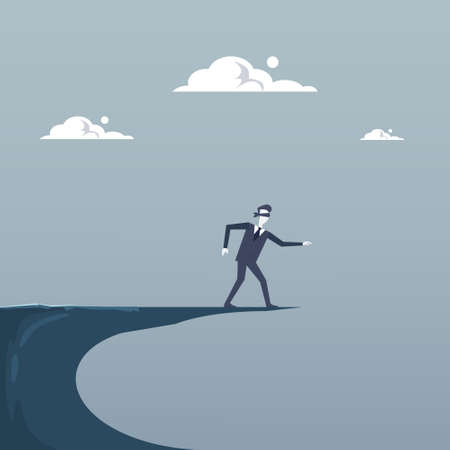 dangerous man: Business Man Blind Walking To Cliff Gap Crisis Risk Concept Flat Vector Illustration