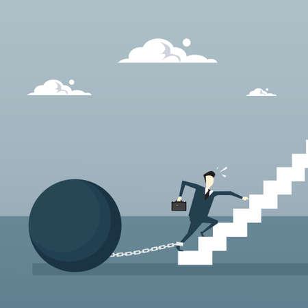 bankrupt: Business Man Chain Bound Legs Walking Upstairs Credit Debt Finance Crisis Concept Flat Vector Illustration