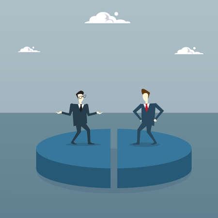 Hombres de negocios de remolque en el diagrama de pie obtener acciones iguales, concepto de éxito de la competencia de los hombres de negocios ilustración vectorial plana
