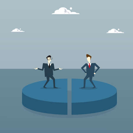Tow Business Men On Pie Diagram Getting Equal Shares, Businessmen Competition Success Concept Flat Vector Illustration Vectores