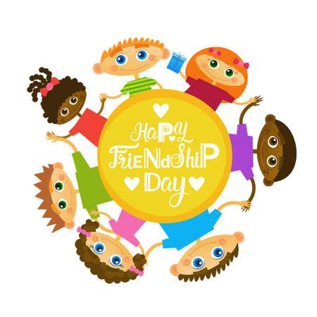 Carte de voeux heureuse de l'amitié Mix Race Kids Friends Multi ethnic Holiday Banner Illustration vectorielle Banque d'images - 81923094