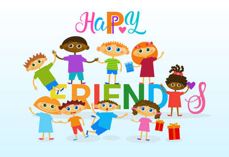 Happy Friendship Day Greeting Card Mix Race Kids Friends Multi Ethnic Holiday Banner Vector Illustration Illustration