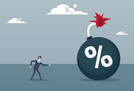 Business Man Blind Coming To Percent Bomb Credit Debt Finance Crisis Risk Concept Flat Vector Illustration