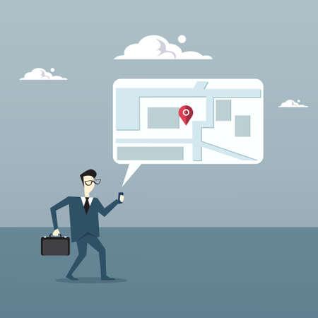 gps device: Business Man Searching For Destination On Digital City Map Gps Navigation Concept Flat Vector Illustration Illustration