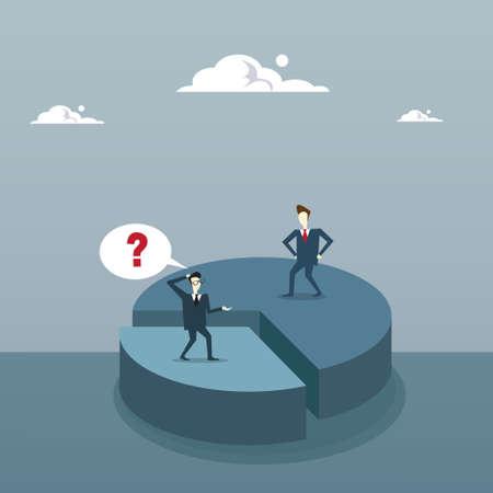 Zwei Geschäftsleute auf Torte Diagramm erhalten Ungleichheit Aktien, Geschäftsleute Wettbewerb Erfolg Konzept flache Vektor-Illustration
