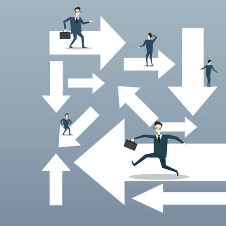 opportunity sign: Businesspeople Running Arrows Business Direction Choosing Concept Flat Vector Illustration