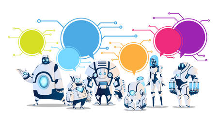 Modern Robot Set With Chat Bubbles Artificial Intelligence Technology Flat Vector Illustration Vectores