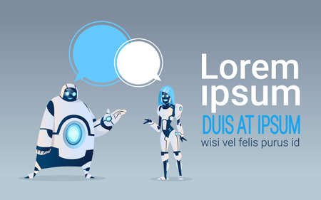 Modern Robots With Chat Bubbles Artificial Intelligence Technology Flat Vector Illustration