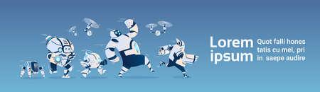 近代ロボット グループは、人工知能技術フラット ベクトル図