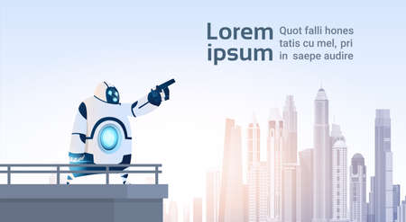 Modern Robot Point Finger On Copy Space Over City View Artificial Intelligence Technology Flat Vector Illustration Illustration