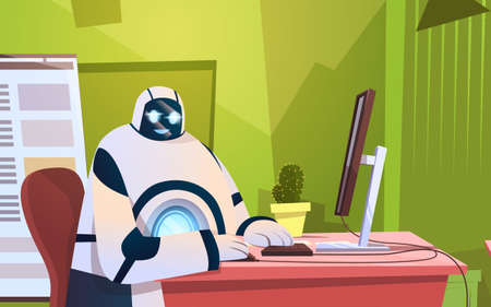 Modern Robot Working In Office Sitting At Desk Artificial Intelligence Technology Concept Flat Vector Illustration