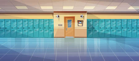 Vaciar la escuela Corredor Interior con fila de taquillas Horizontal Banner Flat Ilustración vectorial