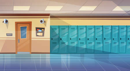 Empty School Corridor Interior With Row Of Lockers Horizontal Banner Flat Vector Illustration  イラスト・ベクター素材