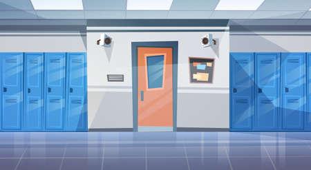 Empty School Corridor Interior With Row Of Lockers Horizontal Banner Flat Vector Illustration Vettoriali