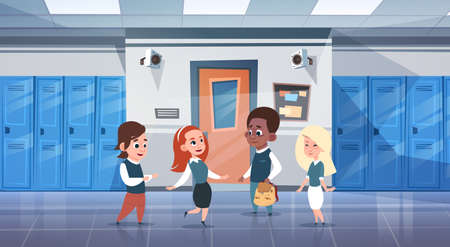 schoolkids: Group Of Schoolchildren In School Corridor Mix Race Pupils Over Row Of Lockers Flat Vector Illustration Illustration