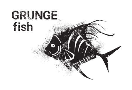 Fish In Grunge Style Silhouette Hand Drawn Animal Vector Illustration