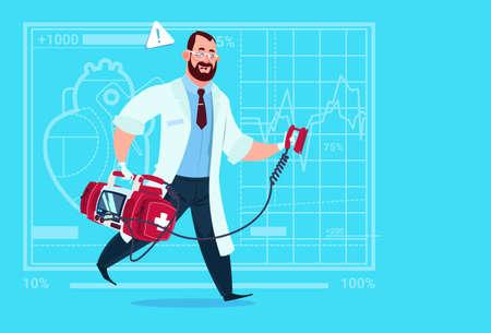 Doctor Running With Defibrillator Medical Clinics Worker Reanimation Hospital Flat Vector Illustration