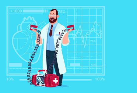 Doctor Hold Defibrillator Medical Clinics Worker Reanimation Hospital Flat Vector Illustration