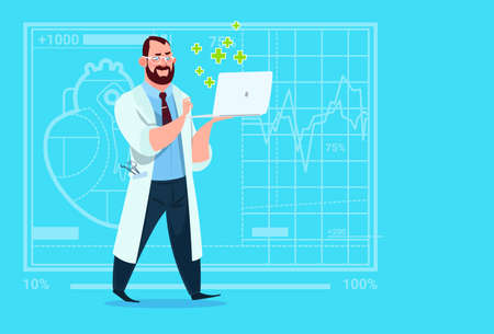 Doctor Hold Laptop Computer Online Consultation Medical Clinics Worker Hospital Flat Vector Illustration
