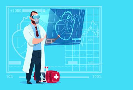 heart monitor: Doctor Cardiologist Examining Digital Heart Wear Virtual Reality Glasses Medical Clinics Worker Hospital Flat Vector Illustration
