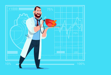 Doctor Cardiologist Examining Heart With Stethoscope Medical Clinics Worker Hospital Flat Vector Illustration