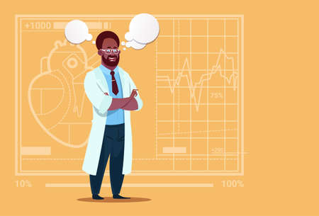 African American Doctor With Chat Bubble Medical Clinics Worker Hospital Flat Vector Illustration