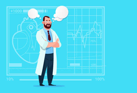 Doctor With Chat Bubble Medical Clinics Worker Hospital Flat Vector Illustration