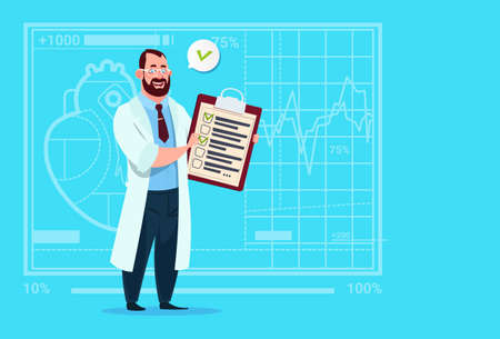 Doctor Holding Clipboard With Analysis Results And Diagnosis Medical Clinics Worker Hospital Flat Vector Illustration