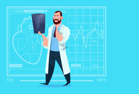 Doctor Examining Xray Medical Clinics Worker Hospital Surgery Flat Vector Illustration Illustration