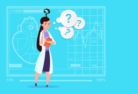 white coat: Female Doctor Confused Thinking Medical Clinics Worker Hospital Flat Vector Illustration Illustration