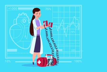 Female Doctor Hold Defibrillator Medical Clinics Worker Reanimation Hospital Flat Vector Illustration Illustration