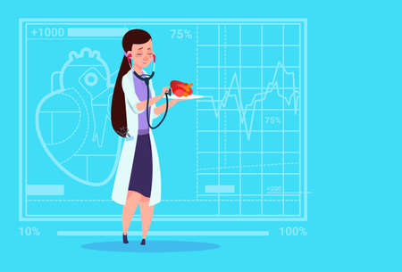 Female Doctor Cardiologist Examining Heart With Stethoscope Medical Clinics Worker Hospital Flat Vector Illustration