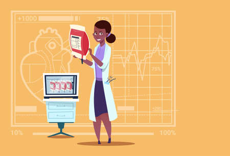 Female African American Doctor Holding Blood Bag Donor Donation Medical Clinics Worker Hospital Flat Vector Illustration