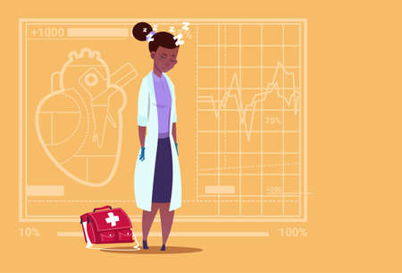 white coat: Female African American Doctor Tired Napping Medical Clinics Worker Hospital Flat Vector Illustration