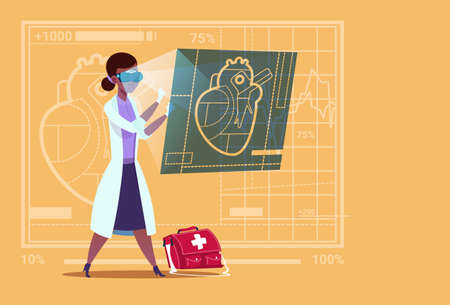 여성 의사 디지털 심장 마모를 검사 심장 의사 가상 현실 안경 의료 클리닉 아프리카 계 미국인 노동자 병원 평면 벡터 일러스트 레이션
