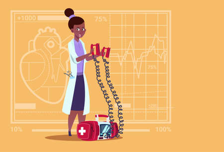 Female Doctor Hold Defibrillator Medical Clinics African American Worker Reanimation Hospital Flat Vector Illustration